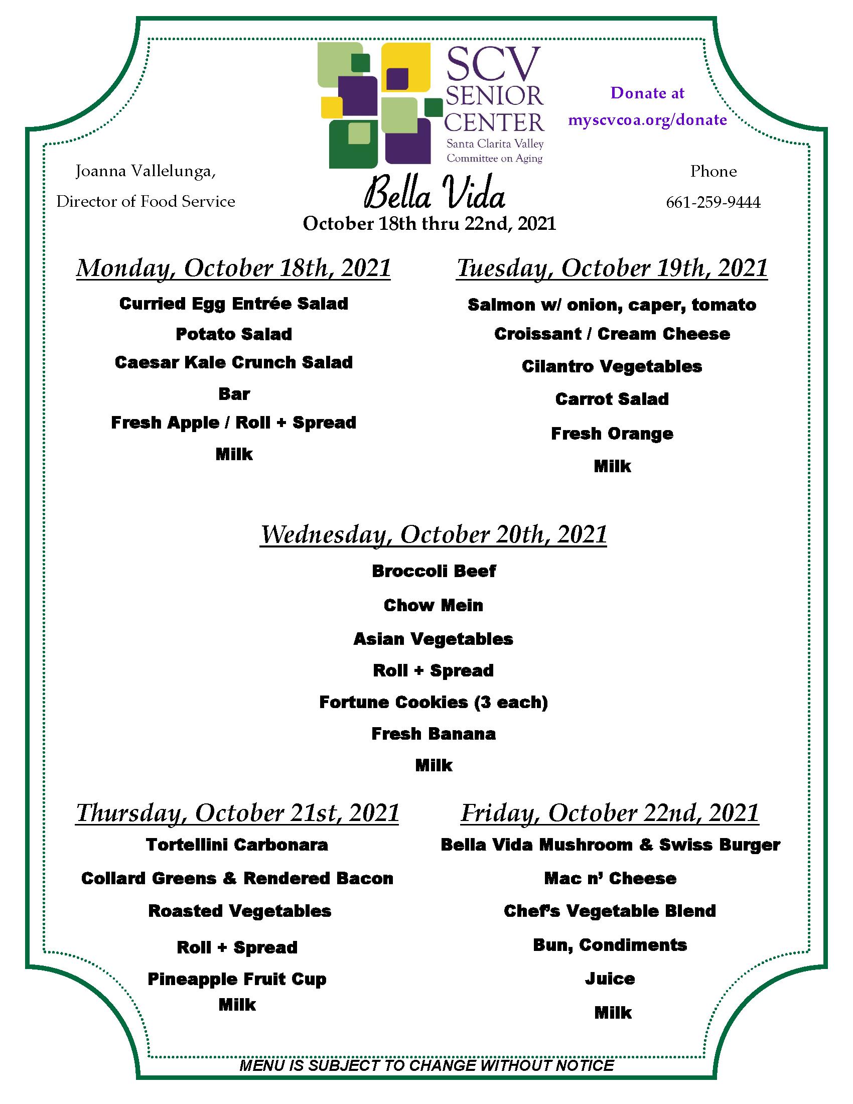 October18th thru 22nd menu