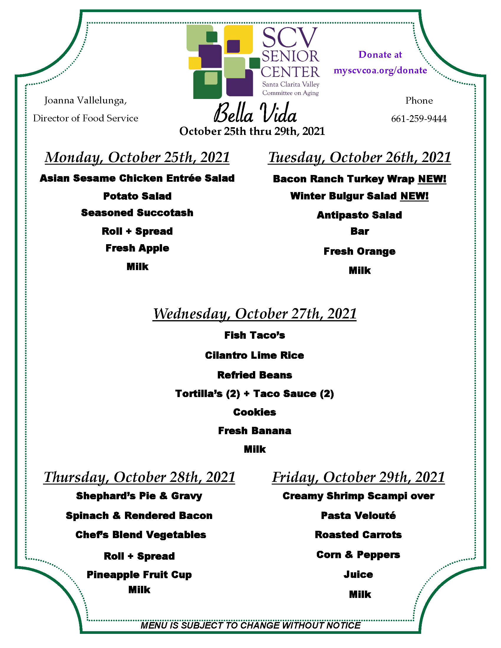 October 25th thru 29th menu